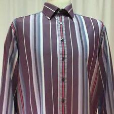 Thomas Pink Mens Casual Dress Shirt Purple Blue Striped XL Button Front (1159)