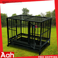 "42"" Heavy Duty Dog Cage Crate Kennel Metal Pet Playpen Portable w/Tray & Wheels"