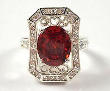 Luxury Woman Oval Cut 2.75ct Garnet 925 Silver Wedding Ring Size 6