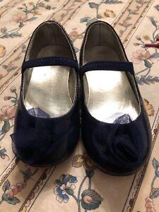 Used Janie & Jack Girls Enchanted Garden Size 8 Navy Patent Leather Mary Jane
