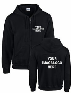 Personalised Zip Up Hoodies - Your IMAGE printed - Many Colours - Mens & Womens
