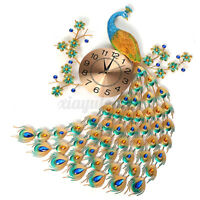 AUG 3D Diamond Peacock Wall Clock Metal Watch Home Living For Ro