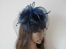 Navy Blue Veiling Feathers Fascinator Clip Weddings Ladies Day Races Royal Ascot