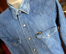 Medium True Vtg 80s Lee All Cotton Indigo Denim Western Snap Shirt Usa