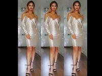 Womens Bardot Off Shoulder Metallic Dress Crushed Foil Party Evening Mini Dress