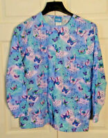 SCRUB H.Q. JACKET BUTTERFLY'S SIZE XS with Front Snaps and Pockets        (U001)