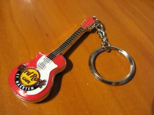 "NEW Hard Rock Cafe HRC Logo 5"" Guitar Key Chain - 2 Sided Red - St. Maarten"