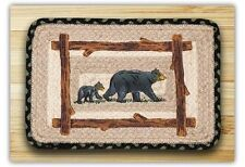 MAMA & BABY BLACK BEAR 100% Natural Jute Swatch Trivet/Placemat by Earth Rugs