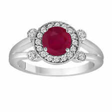 Red Ruby Engagement Ring 14K White Gold 1.12 Carat With Side Diamonds Unique