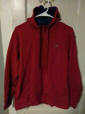 Lacoste Red Sport Full Zip Brushed Fleece Hoodie Size Medium