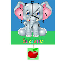 Childrens Personalised Baby Elephant Wall Clock