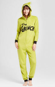 Grinch Christmas One Piece Hooded Pajamas Womens XL Juniors Adult
