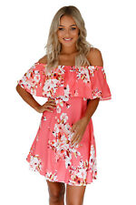 Women Fashion Sexy Orange Ruffle Off Shoulder Floral Boho Beach Dress