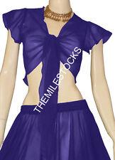 TMS N BLUE Ruffle Wrap Top Tie Belly Dance Choli Gypsy Costume Tribal Club Haut