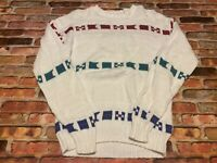 VTG ORVIS Mens S Sweater Nautical Sailing Yachting  Cable Knit Made USA White