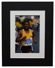 Haille Gebrselassie Signed Autograph 10x8 photo display Marathon Athletics COA
