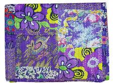 Cotton Handmade Kantha Quilt Indian Bedspread Bohemian King Size Gudari Purple