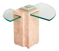 Vintage Postmodern Geometric Pink Marble & Glass Memphis Style Side Table
