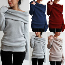 AU Women Off Shoulder Loose Jumper Hoodie Sweater Pullover Turtle Cowl Neck Tops