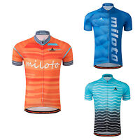 Men's Reflective Bike Bicycle Short Sleeve Jersey Full Zip Cycling Biking Shirts