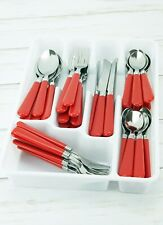 New 48pc Red Stainless Steel Flatware Set Silverware Fork Butter Knife Spoon Kit