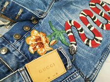 *HOT UNISEX GUCCI @ LOT 53 Slim TAPERED SNAKE & FLOWER EMBROIDERY Denim Jeans 31