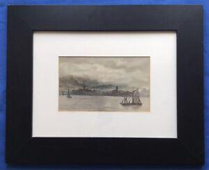 Original Scottish Art Watercolour Marine Painting Ships The Clyde William Weir