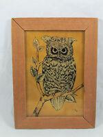 Vintage Gold Foil Owl Framed Art Signed MW