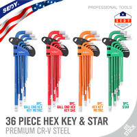 36 Pc Hex Key Allen Wrench Set Ball End Long Arm SAE Metric Star Color L Wrench