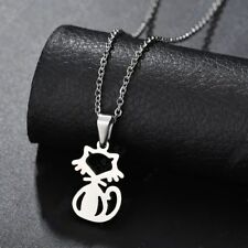 Fashion Lovely Cat  Silver 316L Stainless Steel Titanium Pendant Necklace W27