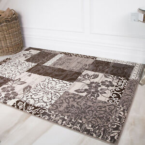 Contemporary Gray Floral Patchwork Rugs Quality Anti Shed Easy Clean Area Rug