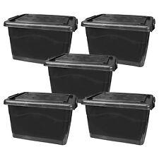 5x Rollenbox mit Deckel 40 Liter schwarz Aufbewahrungskiste (5x22257)