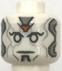 Lego New White Minifigure Head Alien Robot White Eyes Silver Panel Lines