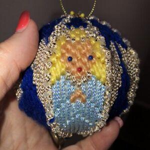 "Vintage Hand Crocheted Angels Christmas Ball Ornament 4"" Dia Blue Push Pin Rare"