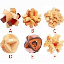 IQ Brain Teaser 3D Wooden Interlocking Burr Puzzles Game Toy For Adults Kids