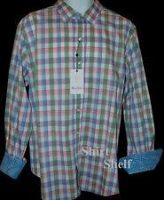 $398 Robert Graham Madras Plaid Check Pattern Shirt - Geometric Duo Cuff L Large