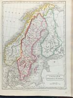 1829 SWEDEN DENMARK NORWAY HAND COLOURED MAP BY SIDNEY HALL 191 YEARS OLD