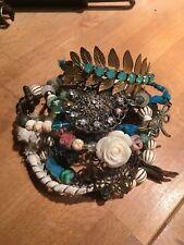 Boho Gypsy Bangle Bracelets Decoupage Beaded Charms Vintage  Swarovski Blue grn