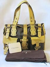 Mulberry 'Roxanne' Brown Canvas Yellow Leather Satchel Style Bag