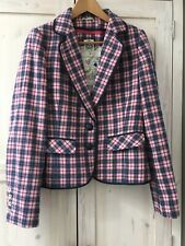 Ness Blue Pink Tailored Tweed Tartan Check Plaid Jacket Blazer Size 12 Wool Coat