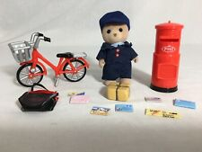Calico critters/sylvanian families Mail Man With Bicycle Box Bag & Mail