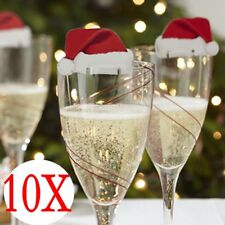 10 X Xmas Hats Champagne Wine Glass Caps Christmas Holiday Party Decorations