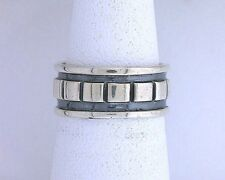 .925 Solid Sterling Silver Band Custom Casted Antiqued Square Design Ring Size 5