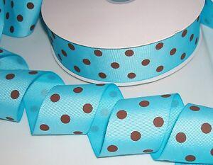 "5 yards Baby Blue/Brown Polka Dot Grosgrain 1.5"" Ribbon/38mm/Polyester/Bow R20-C"