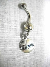 New Dream Text Round Charm On Dbl Clear Cz Belly Bar Navel Ring Body Jewelry