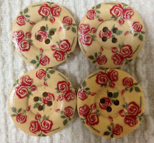 4 x LARGE WHITE WOODEN BUTTONS with VINTAGE PINK ROSE - 25mm  - #B593