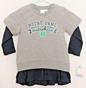 NEW Notre Dame Fighting Irish Colosseum Gray Layered Sweatshirt Dress Toddler 3T