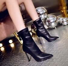 10cm High Heel Pointy Toe Stretch Solid Women's Ankle Boots Back Zip Shoes Club