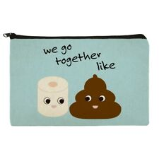 Toilet Paper and Poop Emoji Friends Pencil Pen Organizer Zipper Pouch Case