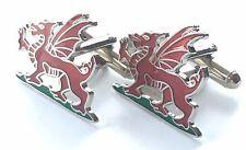 Wales Welsh Dragon Enamel Crested Cufflinks (N17)